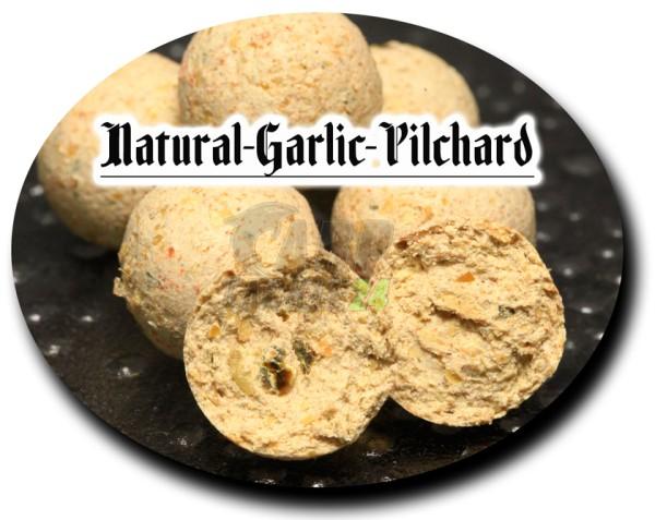 Top Secret Satisfaction Boilies Natural Garlic - Pilchard & pure Shrimps Pop Ups (weiß) 16mm