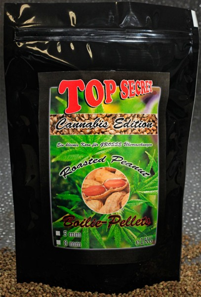 Top Secret Canabis Edition Cannabis Boilie Pellets Roasted Peanut 8 mm 1 kg