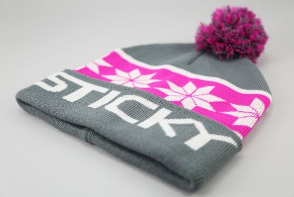 Sticky Baits Grau Pinke Bommel Mütze