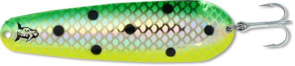 Rhino Trolling Spoon Trout Killer natural gold green dolphin Länge 87 mm